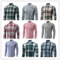 Wholesale 2015 new Men s Long Sleeved Casual Plaid Shirt Men Checkered Dress Shirts men business shirt Slim Stylish M XL BY DHL