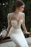 Wholesale Hot Sale Mermaid Wedding Dresses Lace Plus Size Sheer Scalloped Crew Illusion Long Sleeves Open Back Ivory Sexy Cheap Bridal Gowns