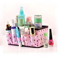 cosmetic storage box - 1 Retail Makeup Organizer Folding Cosmetic Storage Box Desktop Dressing Jewelry Storage Box Small Storage Bag Basket