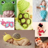 Spring / Autumn baby photo set - New Design Hat Costume Set Cosplay Cute Baby Infant Animal Design Crochet Knitted Photo Prop XDT