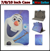 Wholesale New Universal quot quot inch Frozen Elsa Anna Olaf Design PU Leather Flip Case Holder Stand Folding Folio Tablet PC Cases Fashion