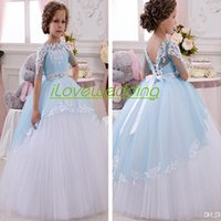 Wholesale Princess Barbie Cakes Flower Girl Dresses For Weddings Communion Ball Gown Half Sleeve Tulle Appliques Kids Cheap Pageant Party Dress