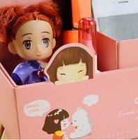 Al por mayor-venta al por mayor DIY de papel maquillaje de cuatro ciñe cuadro de escritorio caso recibirá el almacenamiento creativa organizador de escritorio de las taquillas mejor regalo