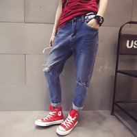 Wholesale Spring new women s clothing han edition fashion knee hole loose paint point feet haroun pants jeans