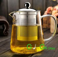 Wholesale Hot sale glassware high borosilicate glass teapot with stainless lid ML