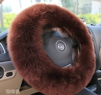 Wholesale Winter winter pure wool steering wheel cover to cover automotive brown leather steering wheel cover to cover