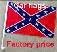 Wholesale Confederate Rebel Car Flags Window Flag With Clip Rebel Civil War Flags National Polyester Small Flag CM One Side Printed Free Fedex