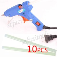 Wholesale Free Ship W Electric Heating Hot Melt Glue Gun with Pieces Sticks Trigger Art Repair Tool US Plug EU AU UK Adapter AIA0A028