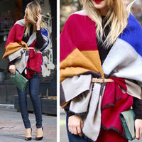 Wholesale Fashion Women Scarf Multicolor Stripe Winter Warm Long Scarf Wool Knitted Neck Scarves Wraps Thicken Shawls