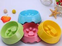 Wholesale 2015 New Pet Dog Cat Products Color Melamine Paw Center Dog Bowl Dogs S M L