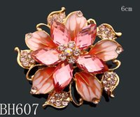 Other lots costume jewelry - hot sell woman Zinc alloy rhinestone flower brooches costume jewelry mixed color BH607
