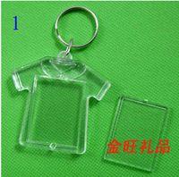 Wholesale DHL Freeshipping Blank Acrylic Keychains key chains Insert Photo plastic Keyrings