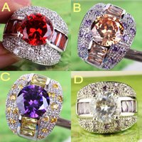 Wholesale 2015 Luxury Quinceanera Dresses Lady Engagement Jewelry AR5 Round Cut Morganite Amethyst Gemstone Silver Ring Size In Stock