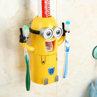 Wholesale Newest Cute Despicable Me Minions Design Set Cartoon Toothbrush Holder Automatic Toothpaste Dispenser with Brush Cup Christmas Party Gifts