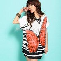 Wholesale New Arrival Women s Bohemian Loose Dress Summer Dress Butterfly Pattern Thin Blouse Tops