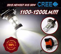 al por mayor xenón h15-Xenon Blanco 50W Alta Potencia H15 Genuine Top CREE LED Bombillas Para Luz Diurna Luces Corrientes 1100lm-1200lm