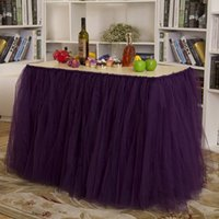 Wholesale High Quality Fashion Home Decor Table Skirt Wedding Holiday Festival Party Tablecloth Solid Tulle Tutu Table Skirt JM0052 Smileseller