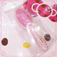 Wholesale Hello Kitty Plastic Paddle Brush cm cm Comb Hair Care Spa Massage Scalp Anti static Comb Hair Styling Handheld Tool Pink