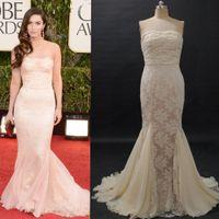 Reference Images Golden Globe Awards Strapless Megan Fox Celebrity Red Carpet Dresses Golden Globe Awards Mermaid Strapless Ruched Lace Chiffon Sweep Train Champagne Evening Dresses