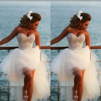Wholesale Luxury White Sweetheart High Low Wedding Dresses Pearls Beaded Tulle Rhineston Pageant Bridal Gowns For Women In Short Front And Long Back