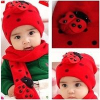 Wholesale Warm Winter Baby Hat Scarf Kid Hats Set Knitting Wool Cap Girls Cute Beanie Christmas Gift