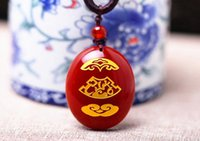 Wholesale Natural AAA red jadeite jade charm pendant good luck hand carved jade oval bead pendant necklace silver necklace