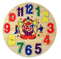 Wholesale Wooden toy big clown Digital Geometry Clock Children s educational toy building blocks