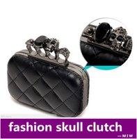 bags knuckle - vintage Skull purse Black Knuckle Ring Handbag Women Skull Clutch Evening Bag With shoulder Chain bolsas femininas