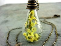 preserved flower - 8pcs SUNSHINE real yellow flower in glass drop necklace Summer preserving necklace bronze chain necklace