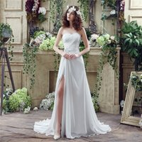 Cheap 2016 Newest In Stock Sweetheart Neck Pleats Chiffon Split Wedding Dresses Beaded Sweep Train A-line Real Picture Cheap Bridal Dresses Gowns