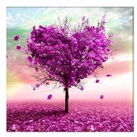 cross stitch fabric - Heart Tree Diy D round Drill Diamond Painting Cross Stitch Pasted Painting Purple diamond embroidery