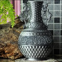 Wholesale Thalia Guardian classic classical European Gothic sculpture retro decorative bottle vase vases decoratives metal vase HP006