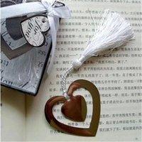 metal bookmark - 50pcs Double heart shaped metal tassels Bookmark Wedding supplies lottery game gift Creative wedding Favor