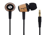 Wholesale High Quality AWEI Super Bass Wooden in Ear Headphones mm Earphones Headset for iphone Samsung