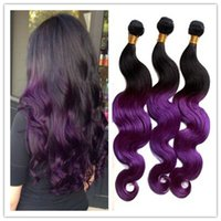 Cheap HOT 8A Human Virgin Hair Extensions 2 Tone Ombre Color Purple 100% Peruvian Hair Bundles Body Wave Hair Weave 3pcs Lot