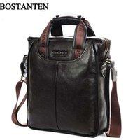 brand name handbag - New Style Bostanten hot business mens brand name vintage cowhide Genuine leather men handbag briefcase shoulder bag