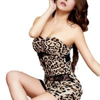 babydoll evening dress - Sexy Women Night Wear Party Club Evening Mini Dress Leopard Babydoll JJ8 FG1511