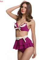Cheap Plus 2015 Women Swimsuit Sexy Push Up Bikini Ruffled Skirt Halter Bikini Set Sexy Bathing Suit Bow Swimwear White Purple Beachwear SV014984