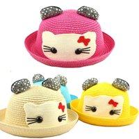 Wholesale 2015 Summer New Children HELLO KITTY Hat Lovely Cartoon Infants Ear Straw Hat Sandy beach Hat Boy Girl Outdoor leisure Sun Hat