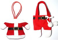 best kitchen cutlery - Best Quality Mini Christmas Santa clothes tableware Kitchen Cutlery Suit Holders Porckets Knifes and Folks Bag bottle bag clothes and pant