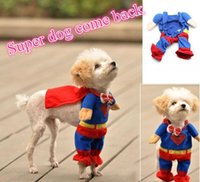 Wholesale New Hot Sale Cute Superman Style Dog Clothes Halloween Fashion Costumes Puppy Jumpsuit Summer Autumn Cotton Pet Clothing