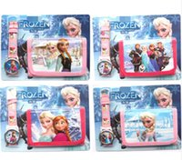 Wholesale New frozen Faux Leather Quartz Watches and Wallet Sets Children Gifts biao61
