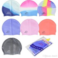 Wholesale on sale Silicone Swimming Cap for Men Women Children solid spell color silicone swim capbathing cap beachwear swimwears summer DHL