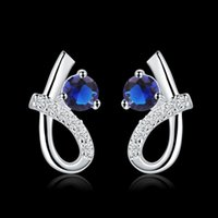 Wholesale hot selling Valentine gift Heart shaped design high quality elegant and fashion charm girls sterling silver blue zricon jewelry earrings