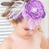 al por mayor vendas del bebé púrpura-La venda ancha púrpura del cordón acodó la flor de la amapola La venda a juego del bebé de la pluma de la venda La venda de la bailarina de la venda magnífica 6pcs / lot