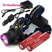 Wholesale 2000 Lumens CREE XM L XML T6 LED Headlamp Headlight Flashlight Head Lamp Light battery charger Car Charger