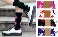 Wholesale Skateboard hiphop socks Leaf Maple Leaves Stockings Cotton Unisex Plantlife men and women Socks HX