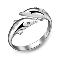 Wholesale fashion Sterling Silver Double Dolphin Ring Opening Adjustable Silver Plated Rings for girl Charm Jewelry Valentine s Gift