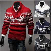Wholesale New Men s Casual Christmas Snowflake Pattern Long Sleeve knit Pullovers Sweaters