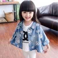 baby jean jackets - children outerwear coats girls clothing spring autumn fashion baby kids jackets long sleeve Stamp girls denim jean coat